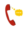 Red handset and speech cloud flat icon vector image vector image