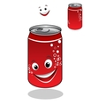 Red soda can with bubbles and a happy smile vector image vector image