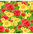 Seamless floral background of roses daffodils and vector image vector image