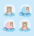 set teddy bear with carriage and rattle vector image vector image