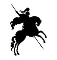 Silhouette of champion Knight on a horse vector image vector image