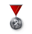 silver medal metal realistic second vector image vector image