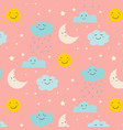 smiling cute clouds pattern background vector image