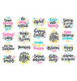 spring and easter modern calligraphy quotes set vector image