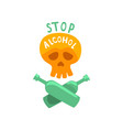 stop alcohol bad habit alcoholism concept with a vector image