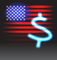 Stripes and stars and neon dollar sign vector image