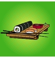 Sushi rolls pop art style vector image