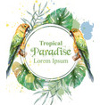 Tropical paradise frame with parrots and palm