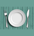white ceramic plate vector image vector image