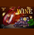 wine advertising banner glass bottle with grape vector image vector image