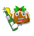 with beer christmas pudding isolated on the mascot vector image