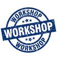 workshop blue round grunge stamp vector image vector image