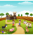 young farmers activities with animals on farm vector image