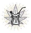 bong with cannabis leaf on white background vector image