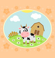 farm background with funny cow vector image