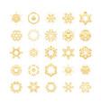 oriental gold pattern golden snowflakes set vector image