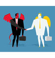 Angel and demon deal Satan and angel shake hands vector image
