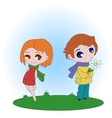 The boy gives flowers to the girl vector image