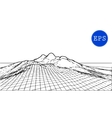 Abstract mountain cyberspace grid vector image vector image