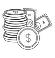 banknotes coins money cash stacked on white vector image