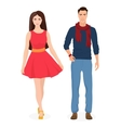 Beautiful young couple together Cartoon students vector image