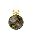 black christmas ball with ribbon and bow vector image vector image