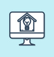 blue line computer monitor with smart house and vector image vector image