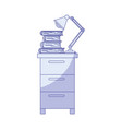 blue shading silhouette of filing cabinet with vector image vector image