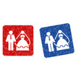 bride and groom grunge textured icon vector image