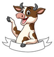 cartoon cow mascot character with blank space bann vector image vector image