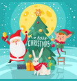 christmas characters background happy merry vector image vector image