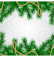 Christmas frame with fir and decorations vector image