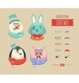 Christmas hipster animals vector image vector image