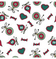 christmas pattern with baubles sweet candies and vector image vector image