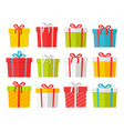 colourful christmas boxes set isolated on white vector image vector image