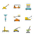construction machinery icons set cartoon style vector image