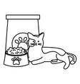 cute cat mascot with food paper bag vector image