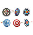 darts or dart-throwing boards with arrows in and vector image
