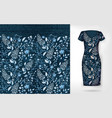 denim floral seamless pattern on realistic vector image vector image
