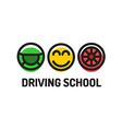 driving school logo template symbols of vector image vector image