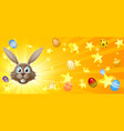 easter bunny and eggs banner vector image vector image