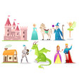 fairytale characters flat set vector image vector image