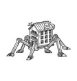 fantastic house on spider legs engraving vector image vector image