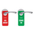 go away and come in room tags on door handle 3d vector image vector image