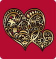 Golden two hearts ornament vector image vector image