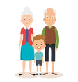 grandparents couple with grandson avatars vector image vector image
