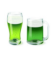 green beer glass and mug isolated on white vector image
