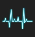 heartbeat blue neon sign vector image vector image