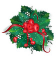 holly ribbon berries greens vector image