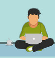 man reading in laptop design vector image vector image